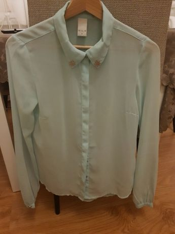 Bluzka Vila kolor mint mietowy koszula
