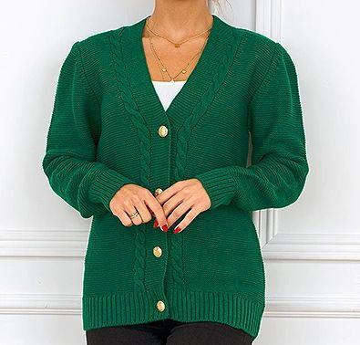 Śliczny, zielony sweterek na guziki