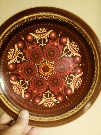 Stary wiszacy gliniany talerz recznie malowany srednica 24 cm cena 45