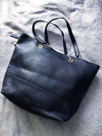 Granatowa torebka shopper bag Reserved. Stan idealny