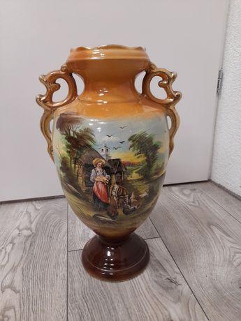 Malowany wazon ceramiczny 37 cm