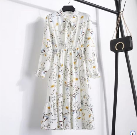 Белое шифоновое платье midi цветочный принт коктейльное біла сукня