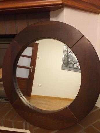 Lustro okrągłe w drewnianej ramie. 60 cm