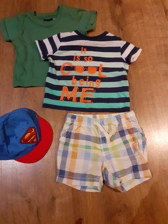 Spodenki H&M, czapka z daszkiem i 2 bluzki z krótkim rękawem r.68