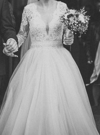 Piękna suknia ślubna w idealnym stanie   rozm. S / 36 / 8