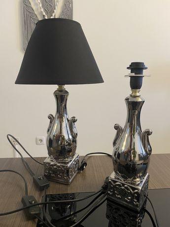 Candeeiros de mesa em porcelana de cor prata