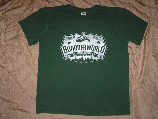 Бренд Fruit Loom футболка хаки c принтом Boarderworld