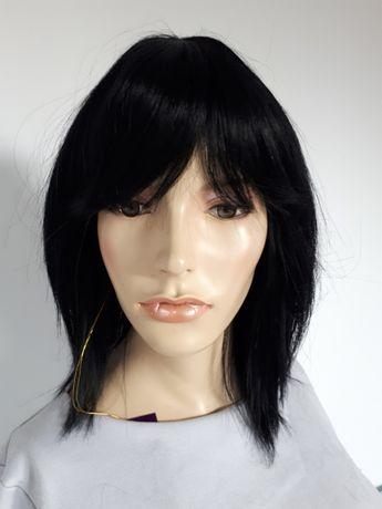 WYPRZEDAŻ-60% peruka naturalne włosy 100% human hair czarna grzywka