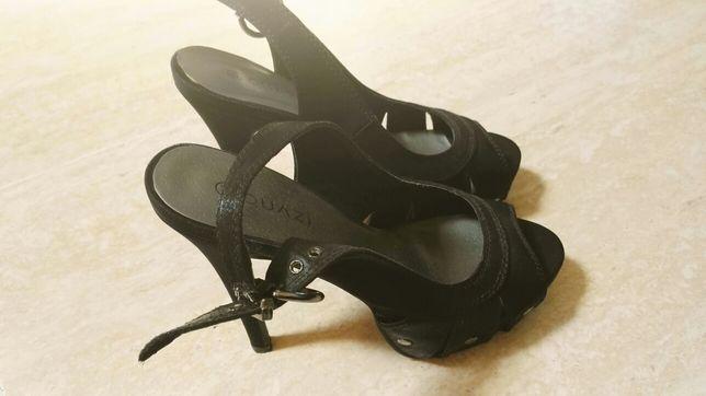 Czarne sandaly quazi wysoki obcas szpilka rozmiar 38