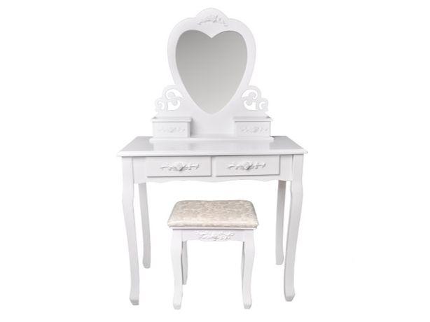 Toaletka kosmetyczna lustro w kształcie serca + taboret # W-HY-008