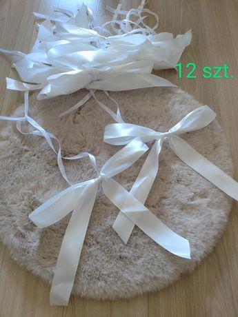 Delikatna dekoracja ślub-kokardy satyna/tiul ławy/organza/róże/KOMPLET