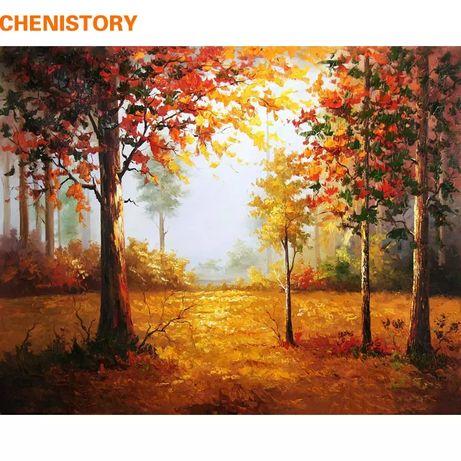 Картина по номерам. Лес, осенний пейзаж.