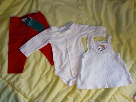 Zestaw ubrań paka hm smyk nowe leginsy 62 hello kitty bluzka
