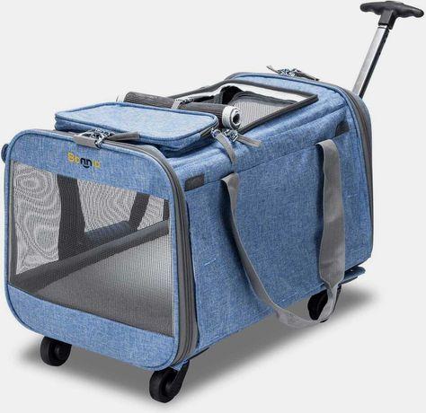 Torba podróżna dla psa lub kota na kółkach z chowanym uchwytem
