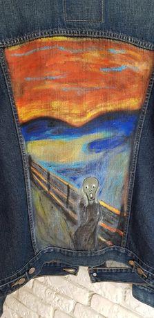 Levis ręcznie malowana jeansowa kurtka