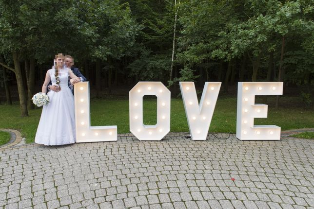 Weselny LOVE led ozdobny napis