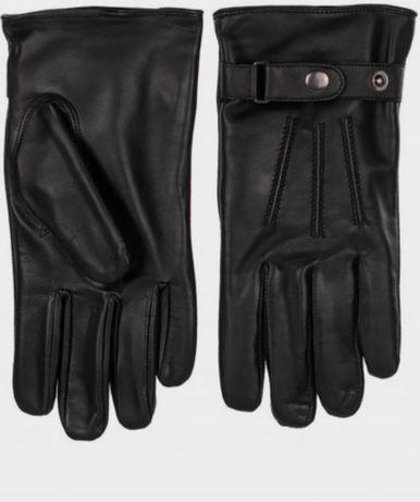 Кожаные мужские перчатки Braska с ремешком