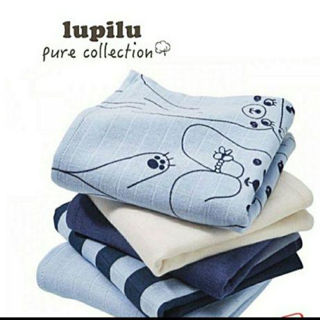 Комплект из 5 муслиновых пелёнок Lupilu.