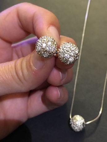 Conjunto colar+brincos prata com cristais