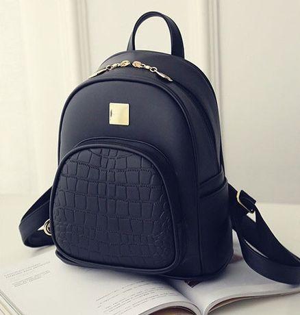 Женский кожаный черный стильный модный городской рюкзак ранець сумка