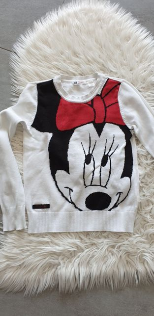 Biały sweter Myszka Mickey Minnie 134 / 140