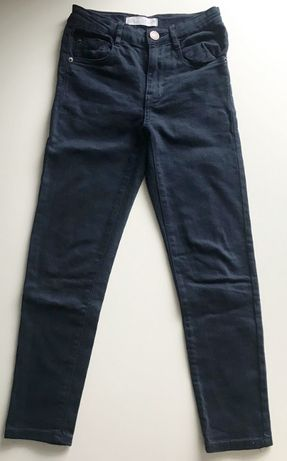 Zara jeansy rurki granatowe 128