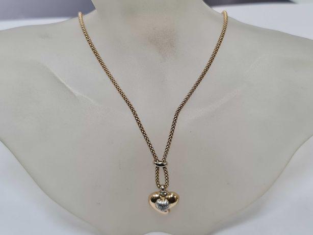 Ciekawa złota kolia damska/ 585/ 8.58 gram/ 46 cm/ Wisiorek Serce
