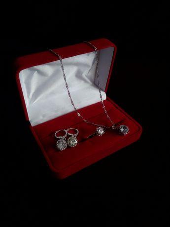 Piękny nowy komplet biżuterii pierścionek kolczyki naszyjnik cyrkonie