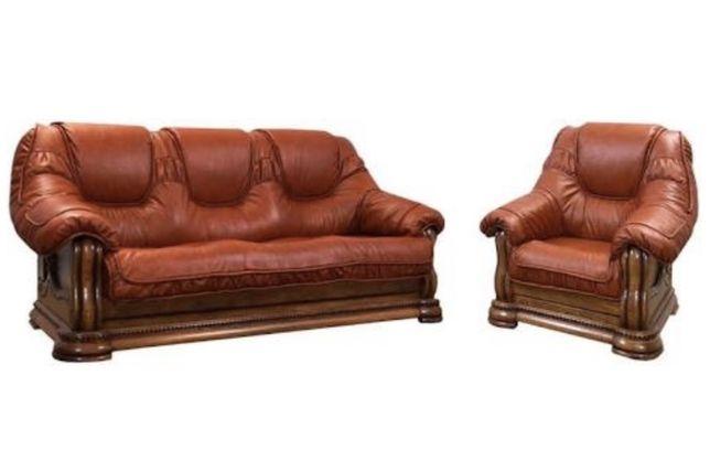 Кожаный раскладной диван, кресло и столик