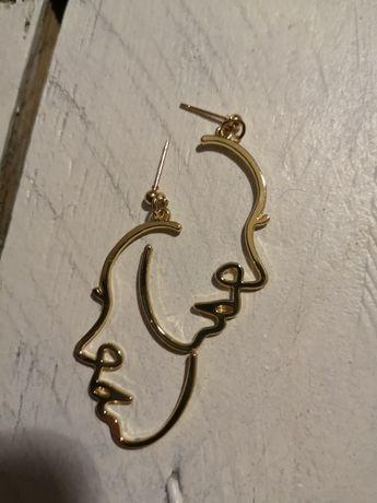 Kolczyki abstrakcyjne abstrakcja twarz face surrealizm hit złoty kolor