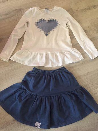 Kpl dziewczęcy biało niebieski serce spodniczka falbanki