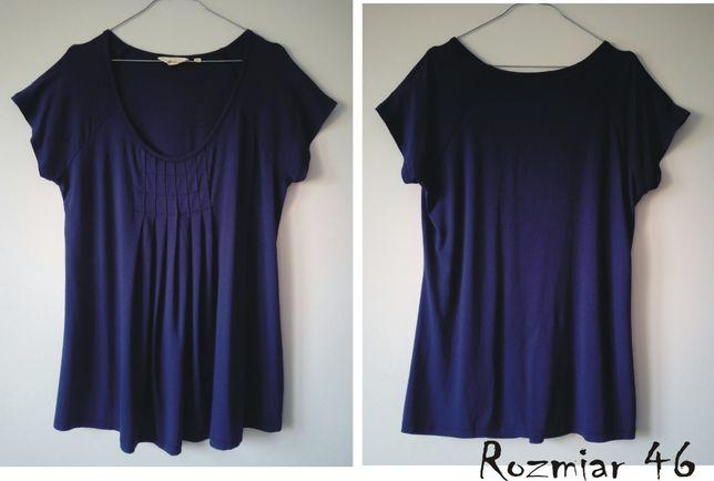 bawełniany granatowy damski t'shirt/bluzka/tunika roz. 46 też ciążówka
