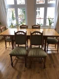Stół i 6 krzeseł dębowe debowy antyk retro