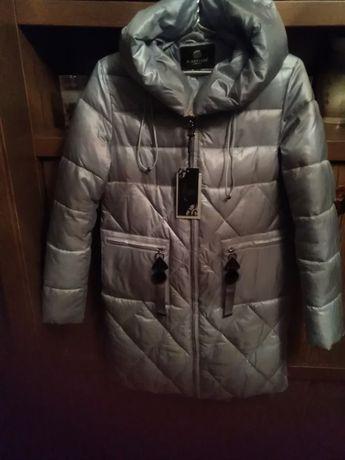 Пальто новое зимнее голубого цвета