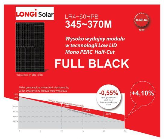 LONGI Panele fotowoltaiczne 345 W Full Black Mono Perc