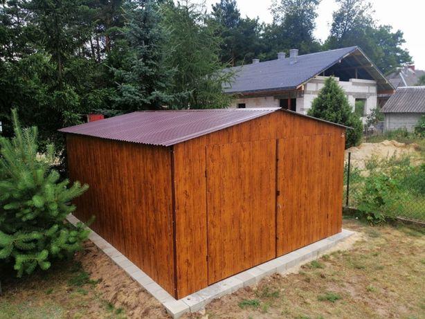 Garaż blaszany 4x5 Drewnopodobny