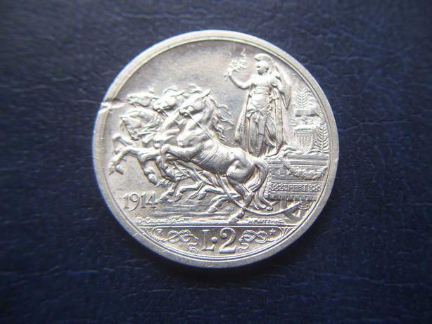 Stare monety 2 liry 1914 Włochy srebro