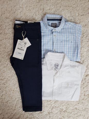 ZARA 92 cool club elegancki zestaw spodnie rurki koszulobody białe