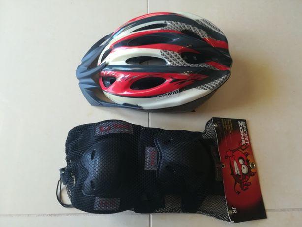 Conjunto para criança Capacete Berg e Protecções para bicicleta