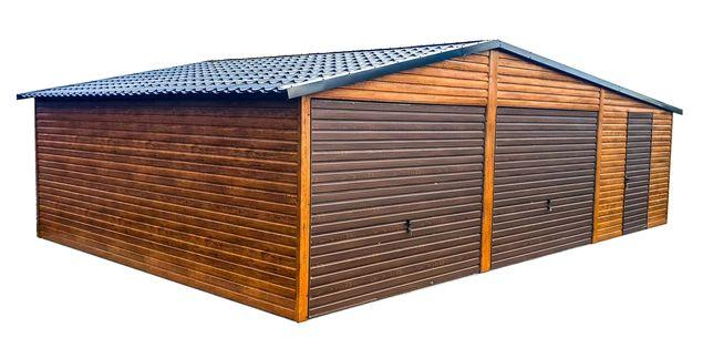 Garaż blaszany drewnopodobny, garaże blaszane blaszak