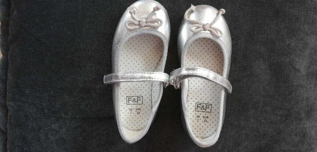 Srebrne Buciki pantofelki 24 dla dziewczynki