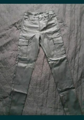 Spodnie ala skóra wysoki stan kieszenie r36