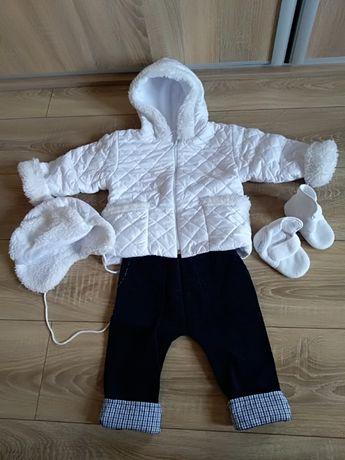 Ubranko do chrztu jesień / zima dla chłopca rozmiar 86 + buciki gratis