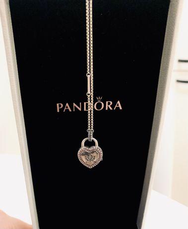 pandora srebrny naszyjnik z kłódką serce oryginalny