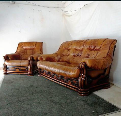 кожаный диван, комплект на дубе. шкіряний комплект