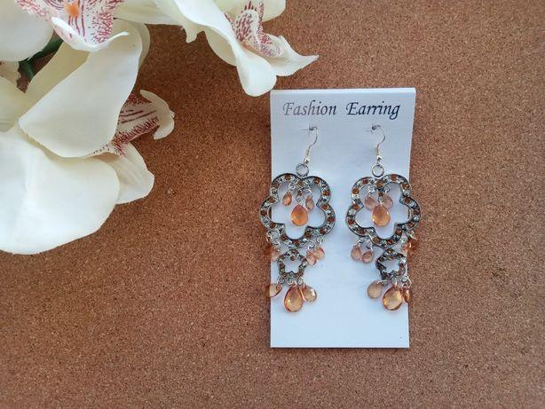 Крупные серьги с камнями fashion earring