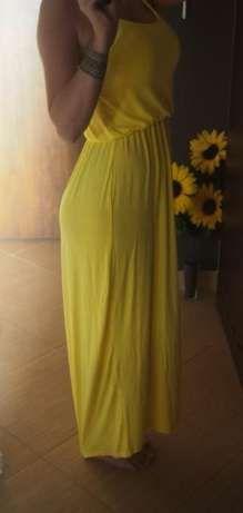 Boohoo Sukienka długa maxi cytrynowa żółta 34 xs