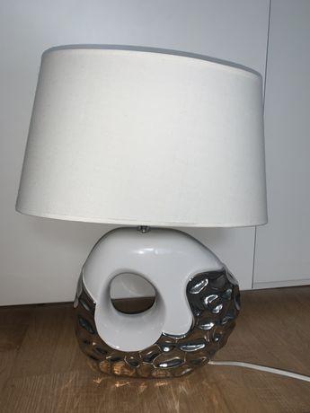 Lampka biurkowa biało srebrna