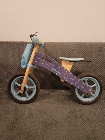 Rowerek biegowy drewniany + kask dla dziecka