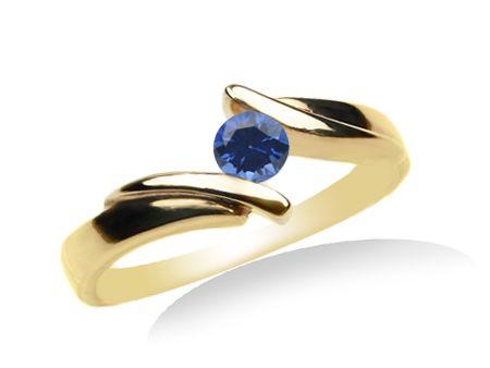 -20% taniej !! Złoty pierścionek 585 z Szafirem 0,340ct